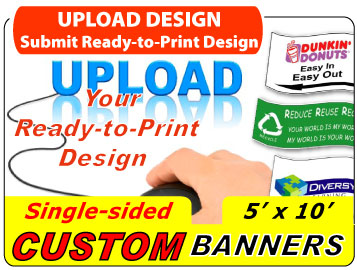 5/' x 10/' Full Color Custom Banner 13oz Vinyl Same Day Shipping